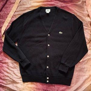 Vintage IZOD Lacoste Black Button Front Cardigan